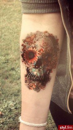Interesting skull tattoo.