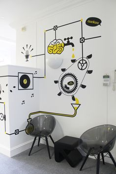 25 Inspirations of Motivational Wall Decorations – Design Kaktus Office Wall Design, Office Mural, Office Wall Decor, Office Walls, Office Interior Design, Office Interiors, Office Wall Graphics, Bg Design, Design Case