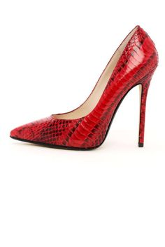 Michael Kors Red 'Aberly' Snake-Embossed Pumps $275 Spring 2013 #Shoes #Heels