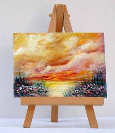 Sunset By The Ocean 3x4 Sunset painting Landscape by valdasfineart