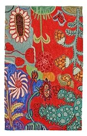 Bloomer Cactus Hooked Rug, design by Barbara Gilhooly