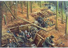 Siegfried Line - This scene shows a typical Hurtgenwald defense line such as that occupied by the German 89th Infantry Division while fighting against the US 9th Infantry Division in September 1944.