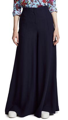 Diane Von Furstenberg Palazzo Pants In Alexander Navy High Fashion Home, African Beauty, Palazzo Pants, Diane Von Furstenberg, Fashion Brands, High Waisted Skirt, Topshop, Womens Fashion, Skirts