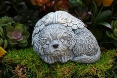 Dog Angel Statue Bichon Frise Memorial Solid by PhenomeGNOME