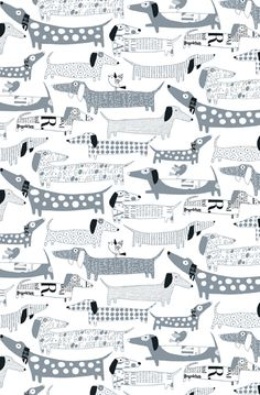 "Wallpaper ""Winer Dogs"" in grey | children's room . Kinderzimmer . chambre d'enfant | @ Loboloup |"