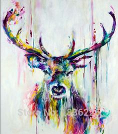 Professional Top Painter Team Supply High Quality Abstract Colorful Deer Oil Painting On Canvas Handmade Beautiful Deer Picture-in Painting & Calligraphy from Home & Garden on Aliexpress.com | Alibaba Group