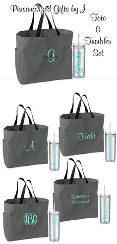 6 Totes and Tumblers Bridesmaid Gifts by PersonalizedGiftsbyJ