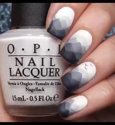 Grey gradient mountain nails