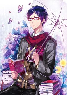 Free! Iwatobi Swim Club -Rei Ryugazaki See this is what I want in a man: 1. Glasses 2. Reads 3. Surrounded by butterflies and flowers (Duh!)