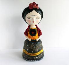 Frida ooak doll - One of a kind art sculpture - Paper clay hand sculptured figurine -Frida Kahlo