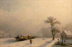"""""""Winter scenes by Ivan Konstantinovich Aivazovsky Russian Painting, Russian Art, Great Paintings, Landscape Paintings, Landscapes, Google Art Project, Winter Painting, Painting Art, Medieval Life"""