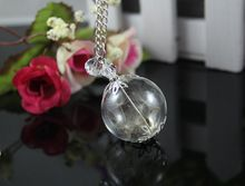 US $4.43 Handmade Real Dandelion Seed Pendant Necklaces Women Antique Glass Ball Globe Pendant With Crystal Pendants Jewelry. Aliexpress product