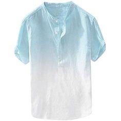 dfb7a00f73 ZODOF Camisas Hombre Cuello Fresco y Fino Transpirable para Hombres de  Verano Que cuelga teñido Degradado
