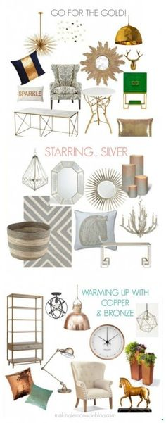 Mixed Metallics Home Decor : How to Mix Gold, Silver, Copper and Bronze for a SHOWSTOPPING look! www.makinglemonadeblog.com #gold #silver #bronze