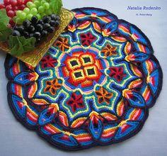 Fiesta Mat by Podarok on Ravelry, using Melody MacDuffee's Overlay Crochet Mandala Pillow Covering pattern from Crochet Master Class Crochet Circles, Crochet Motifs, Crochet Art, Tapestry Crochet, Crochet Squares, Crochet Home, Crochet Crafts, Crochet Doilies, Yarn Crafts