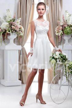 Elegante vestido de noiva curto pescoço colher traseira aberta curto vestido de noiva lace up voltar chiffon vestidos de noiva EV0288
