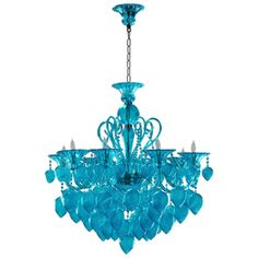 Limited Production Design & Stock: Grand Aquamarine 8 Light Glass Chandelier  * H: 36 x Dia: 35 inches