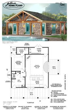love the beams would open up a few walls to the outside small pool - 20x20 House Plans Small Pool