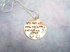 Sun Moon Stars Hand Stamped Sterling Necklace by EnchantedObjects, $30.00