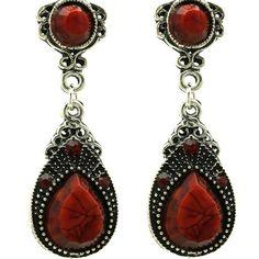 Vintage style Red stone Earrings Cute vintage style Earrings, burnish silver finish Jewelry Earrings