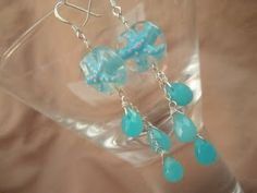 Two Bottle Blondes - nautical inspired earrings with sterling silver dangle base, and professionally beaded turquoise etched droplets