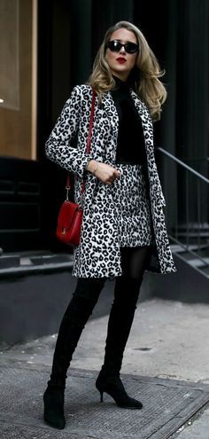 Classic Jewelry + Snow Leopard Coordinates  //  Leopard jacket, leopard mini skirt, black turtleneck, red shoulder bag, dainty silver bangle bracelets, black over-the-knee boots, black sunglasses {Maje, Stuart Weitzman, winter style, what to wear, festive outfits, holiday style, patterned coat, classic style, ootd, fashion blogger, nyc}