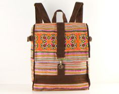 Square Backpack Floral Hand Stitch Gypsy Hippie Boho by TaTonYon, $40.00