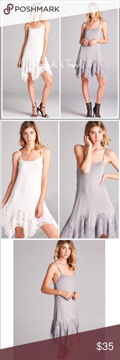 "Lace Extender Slip/ Dress A new twist to the already hottest selling lace extender. Asymmetrical lace hemline with adjustable straps. Color white or grey. Size S/M, M/L, L/XL eyelet.                                                              S Bust 34"" Length  30""  M Bust 38"" Length 32""  L Bust 44"" Length 34"" striped Dresses"