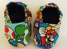 Nintendo reversible baby booties!  Etsy page: https://www.etsy.com/shop/ItsyBitsyBooties?ref=search_shop_redirect