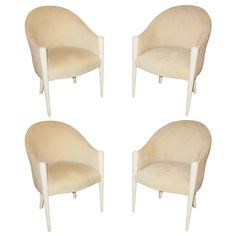 1980s Set of Four Cream Lacquered Club Chairs