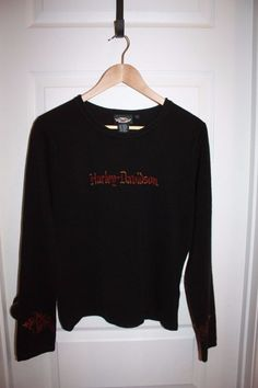 Women's Harley Davidson Long Sleeved Knit Shirt - Size Large - Black - EUC! #HarleyDavidson #KnitTop