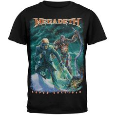 Megadeth presents an apocalyptic scene on this black cotton tee from their 2013 album, Super Collider, the first to be released on Dave Mustaine's own label. Super Collider, Canisters, Cotton Tee, Black Cotton, Cool Shirts, Tees, My Style, Mens Tops, T Shirt