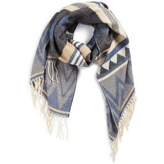 Women's Lulla Collection By Bindya Atlas Scarf ($50) ❤ liked on Polyvore featuring accessories, scarves, black multi, woven scarves, vintage shawl, fringe shawl, fringe scarves and vintage scarves