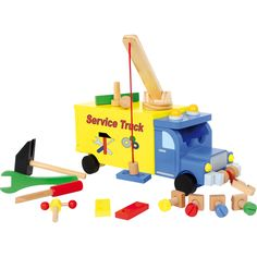A great truck made of brightly painted wood will make the children´s hearts beat faster! The cargo area can be taken out up to 15 cm and serves as a small workbench with holes for screws and nails, hammer, wrench, nuts and a small vice will turn little ch Small Workbench, Play Based Learning, Construction, Motor Activities, Working With Children, All Gifts, Good Company, Fine Motor Skills, Educational Toys