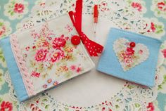 Cottage Chic Sewing Wallet With Matching Needle Book by picocrafts, $15.00 cute Etsy shop!
