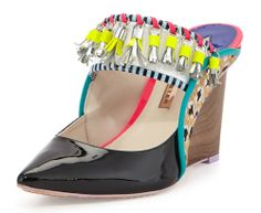 Sophia Webster Samia Tribal Calf Hair Patent Wedge Mule