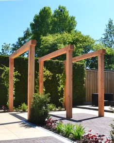 houten-pergola-van-lariks-douglas-hout-in-moderne-tuin ., houten-pergola-van-lariks-douglas-hout-in-moderne-tuin . cesPergolas can also be used at the entrances to make the front entrance of your home beautiful and attractive. Diy Pergola, Small Pergola, Wood Pergola, Pergola Canopy, Pergola With Roof, Outdoor Pergola, Pergola Kits, Pergola Ideas, Cheap Pergola