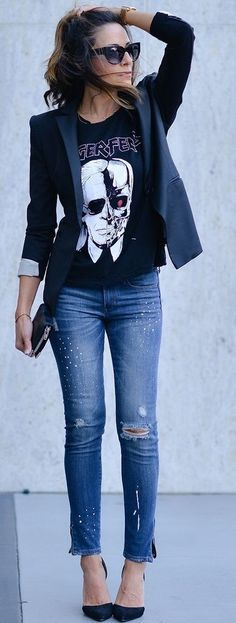 Lucy's Whims Black D'orsay Pumps Tux Blazer Embellished Ripped Jeans Halloween Graphic Sweater Fall Street Style Inspo