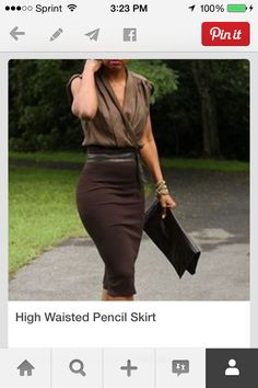 Brown high waist pencil skirt with tone on tone sleeveless blouse and clutch.