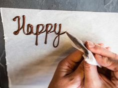 Food Network teaches how to decorate cakes and desserts with fun messages written in chocolate. How To Make Icing, How To Make Chocolate, Homemade Chocolate, Chocolate Recipes, Chocolate Food, Chocolate Factory, Chocolate Chocolate, Chocolate Letters, Desserts