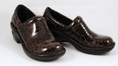 Leopard Print BORN Womens Shoes BOC Size 6.5 Clogs Patent Leather Vegan #Brn #Clogs