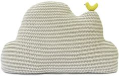 Cloud Pillow {grey} ♡ soft hues with a playful knit design~ adore that little birdie.