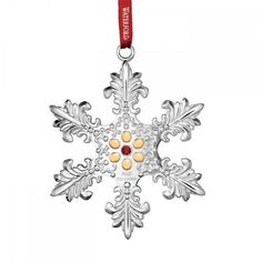 2015 Waterford Annual Snowflake with Gold Accents Silver Christmas Ornament * Be sure to check out this awesome product.