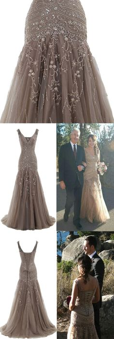 A-line V Neck Tulle Long Prom Dress With Embroidery #prom #evening #party #dress