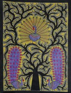 Mithila Painting: Kalpavriksha @ Rs 5,799/-  Painting  by Jhunjhun Jha, grandson of Padmashree Late Smt. Sita Devi A Mithila Painting of Kalpavriksha with three peacocks on it. According to Hindu mythology, it is a divine tree which is believed to fulfill wishes. Saint Shree Durvasa has meditated under this tree. A good omen which attracts wealth and happiness. On Hand-made Paper using natural colours extracted from plant's leaves, seeds, fruits, flowers etc. Dimension: 30 Inch x 22 Inch