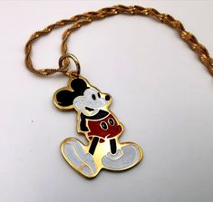 Mickey Mouse Vintage Metal Pendant Necklace Walt Disney Productions Cloisonne Style NEW old stock by VintageToysForAll on Etsy Star Cards, Necklace Extender, Necklace Chain Lengths, Vintage Mickey Mouse, Little Twin Stars, Red Pants, Kids Jewelry, Vintage Metal, Vintage Children