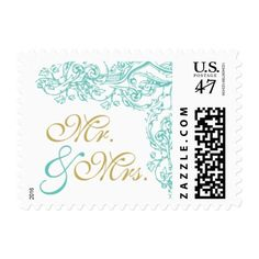 Vintage Ornate Blue & Gold Mr. & Mrs. Stamp