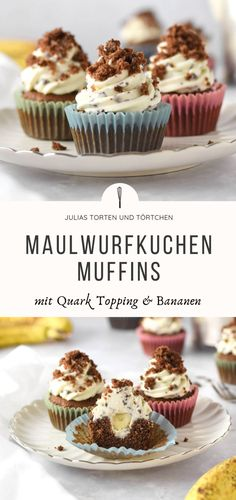 MAULWURFKUCHEN MUFFINS mit Banane und Schokolade Mole Cake Muffins Simple recipe for juicy mole cake muffins with bananas and quark frosting. You do not have to decorate it at all! Make yourself fast and easy. Best Buttercream Frosting, Frosting Recipes, Cheesecake Recipes, Dessert Recipes, Cheesecake Cookies, Cheesecake Bites, Baking Desserts, Baking Recipes, Hazelnut Cake