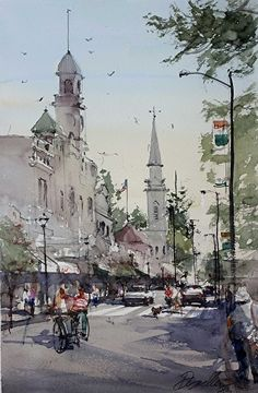 An Easy Afternoon by David Savellano Watercolor ~ 18 x 12