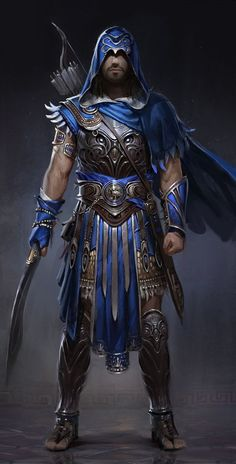 View an image titled 'Blue Armor Concept Art' in our Assassin's Creed Odyssey art gallery featuring official character designs, concept art, and promo pictures.